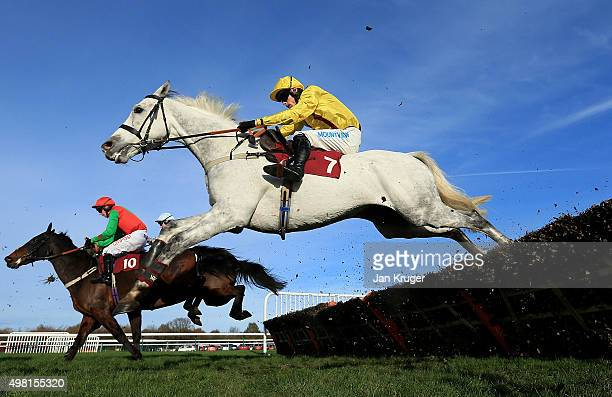 Vendor ridden by Sean Quinlan jumps the last in The Better Odds With Betfair Exchange Handicap Hurdle Race at Haydock racecourse on November 21 2015...