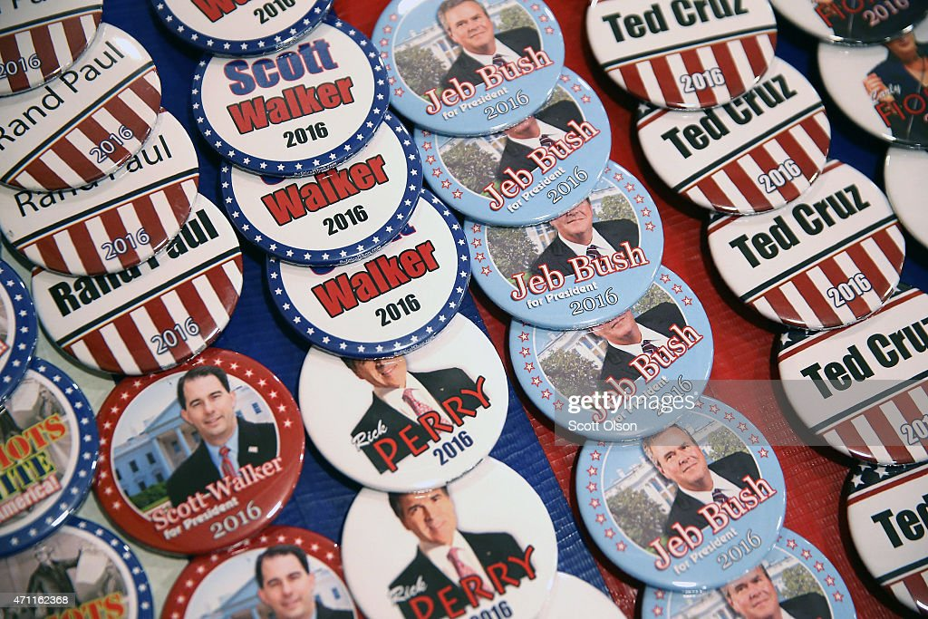 A vendor sell campaign buttons at the Point of Grace Church before the start of the Iowa Faith and Freedom Coalition 2015 Spring Kickoff on April 25...