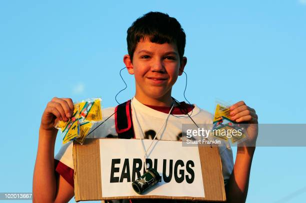 A vendor sells earplugs prior to the 2010 FIFA World Cup South Africa Group C match between England and USA at the Royal Bafokeng Stadium on June 12...