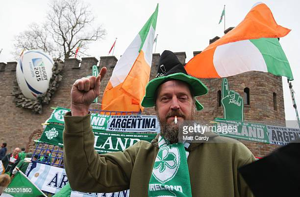 A vendor sells flags and scarves to fans close to the Millennium Stadium where Ireland are playing Argentina in the quarter finals of the Rugby World...