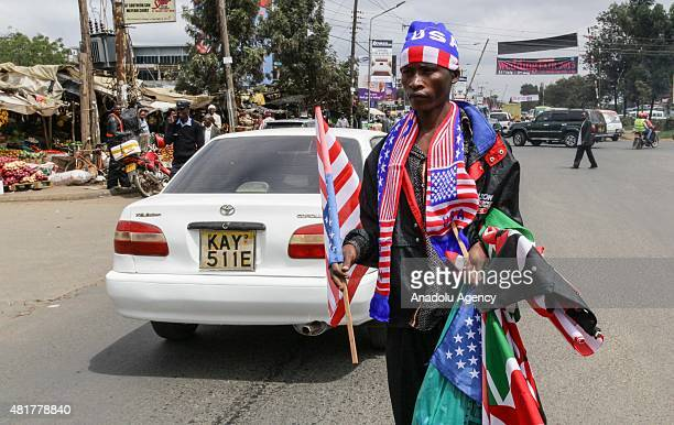 A vendor sells flags on a street in Keynan capital Nairobi on July 24 ahead of the US President Barack Obama's visit Obama to visit Kenya to attend a...