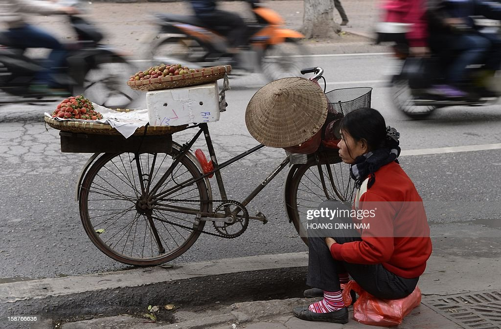 A vendor sells fruit on a street in Hanoi on December 28, 2012. Vietnam's economic growth slowed to the weakest pace in 13 years in 2012, according to published official statistics, piling more pressure on the country's rulers. Gross domestic product grew by 5.03 percent this year while inflation slowed to 6.8 percent in December year-on year from 7.08 percent in November. AFP PHOTO/HOANG DINH Nam