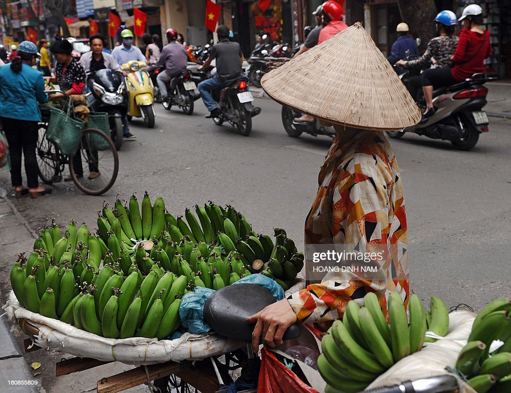 A vendor sells green bananas that families place on their altars at home for the Lunar New Year, ahead of the start of the holiday known in Vietnam as 'Tet' in downtown Hanoi on February 7, 2013. Vietnamese will have a nine-day long Tet holiday this year, the longest ever decided by the Vietnamese government. AFP PHOTO / HOANG DINH Nam