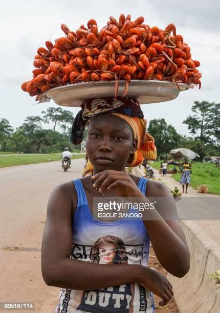 A vendor sells langoustines by a main road near the village of N'Zianoua north of Abidjan on June 11 2017 / AFP PHOTO / ISSOUF SANOGO