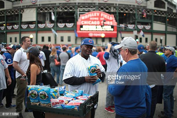 A vendor sells peanuts outside Wrigley Field before Game Four of the 2016 World Series between the Chicago Cubs and the Cleveland Indians at Wrigley...