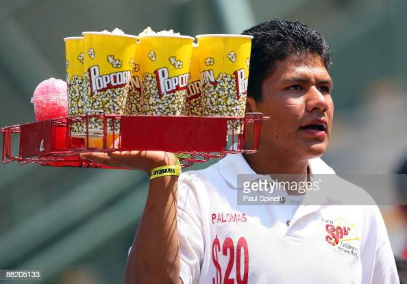 A vendor sells popcorn and snow cones during the Pool B game one between South Africa and Cuba in the first round of the 2009 World Baseball Classic...