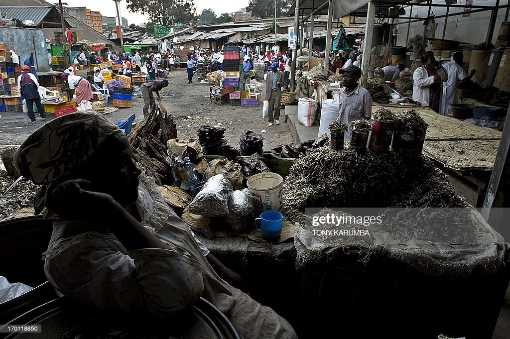 A vendor sits at her stall where she sells sun-dried fish on June 7, 2013 at a meat market near the city centre in the Kenyan capital Nairobi. Drying fish naturally by use of the sun's rays or smoke is a common practice among East Africa's communities living by fresh water lakes that ensures food keeps longer even without refrigiration. According to Unep, an estimated one third of all food produced, which translates to 1.3 billion tonnes, worth around $1 trillion (Sh85 trillion) ends up rotting in the bins of consumers and retailers or spoiling due to poor transportation and harvesting practices each year. As we celebrate the World Environment Day today, the United Nations Environment Programme says traditional cultures can show a wasteful world how to preserve food with the them 'think, eat and save'. AFP PHOTO/Tony KARUMBA