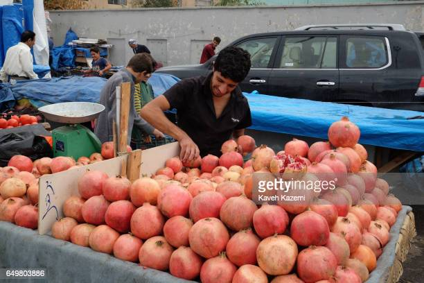 A vendor sorts his fresh pomegranate in the market place near the citadel on November 2 2016 in Erbil Iraq Erbil also spelt Arbil or Irbil is the...