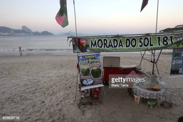 A vendor stands on Copacabana beach a former Olympic venue on July 22 2017 in Rio de Janeiro Brazil Nearly one year after Rio hosted the first...