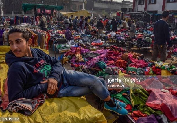 A vendor waits for customers in a market on November 06 2017 in Srinagar the summer capital of Indian administered Kashmir India Markets in the...