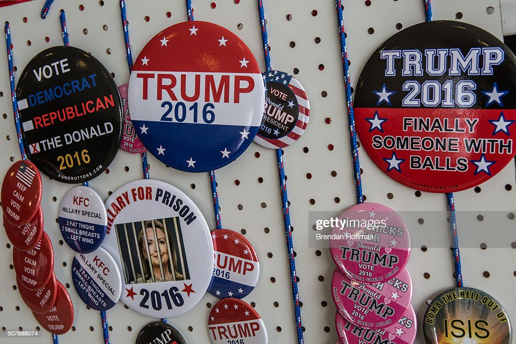 A vendor's buttons are displayed for sale ahead of a rally with Republican presidential candidate Donald Trump at the Ramada Waterloo Hotel and...