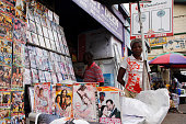 DVD vendors stand in front of their store on September 24 2013 in Accra The new film by GhanaianNigerian director Pascal Amanfo 'Boko Haram' has been...