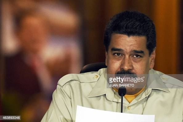 Venenzuelan President Nicolas Maduro speaks during a television broadcast in Caracas on February 19 2015 Venezuela's intelligence service arrested on...
