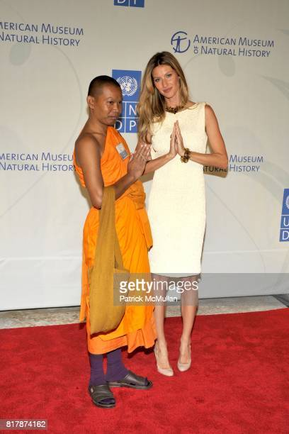 Venerable Bun Salouth and Gisele Bnudchen attend UNDP Equator Prize 2010 at The American Museum of Natural History on September 20 2010 in New York...