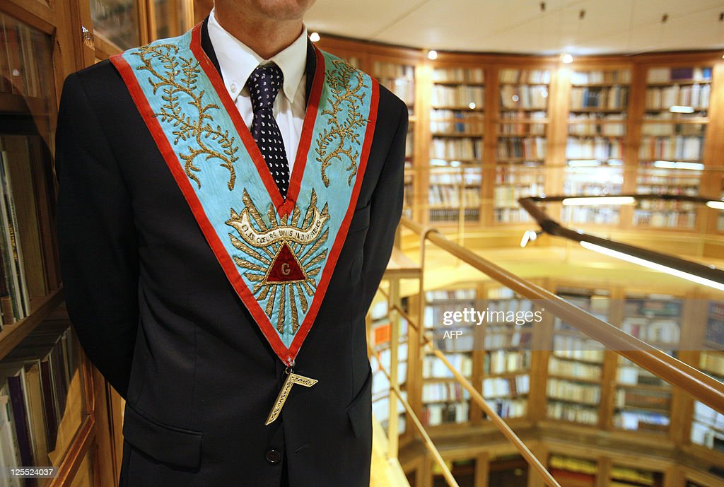 A Venerable Maitre poses with his sautoir at library of the Grand Lodge of France's freemasonry on September 18 in Paris during the 27th edition of...