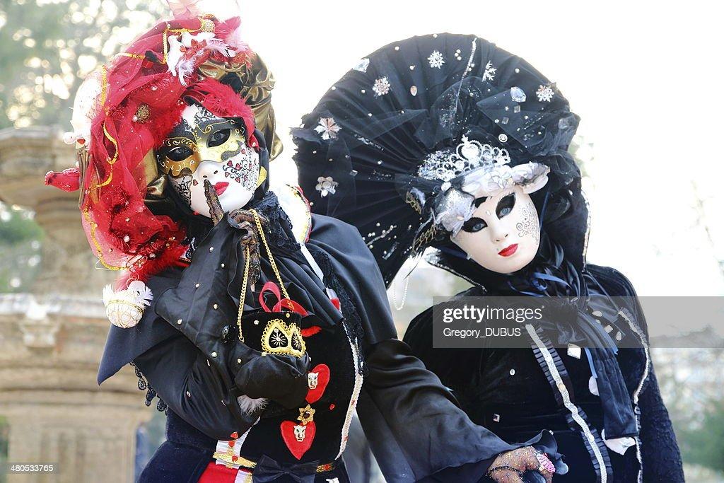 ベネチアカーニバルの参加者 : ストックフォト