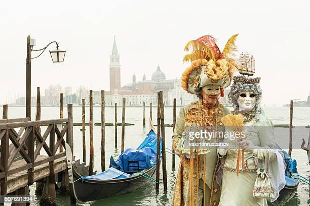 Paar in Venedig Gondel-pier