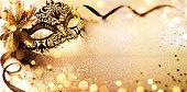 Golden Mask On glitter With Bokeh