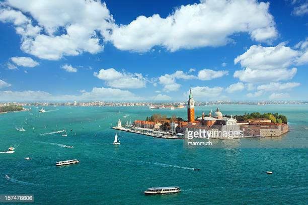 Venetian lagoon with ships and San Giorgio Maggiore aerial view