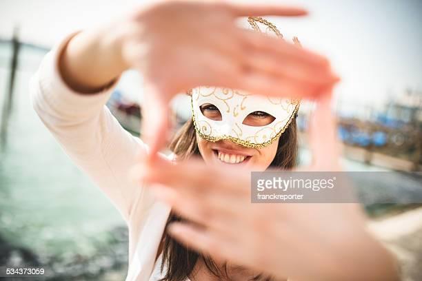 venetian woman for carnival in venice