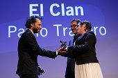 Venezia 72 jury members Nuri Bilge Ceylan and Lynne Ramsay present the Silver Lion Award for Best Film to director Pablo Trapero for his film 'El...