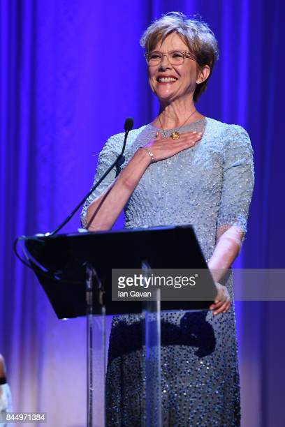 'Venezia 74' jury president Annette Bening speaks on the stage during the Award Ceremony of the 74th Venice Film Festival at Sala Grande on September...