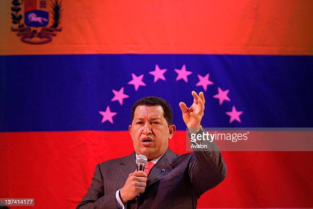 Venezualan President Hugo Chaves addresses an audience at the Camden Hall London 14 May 2006