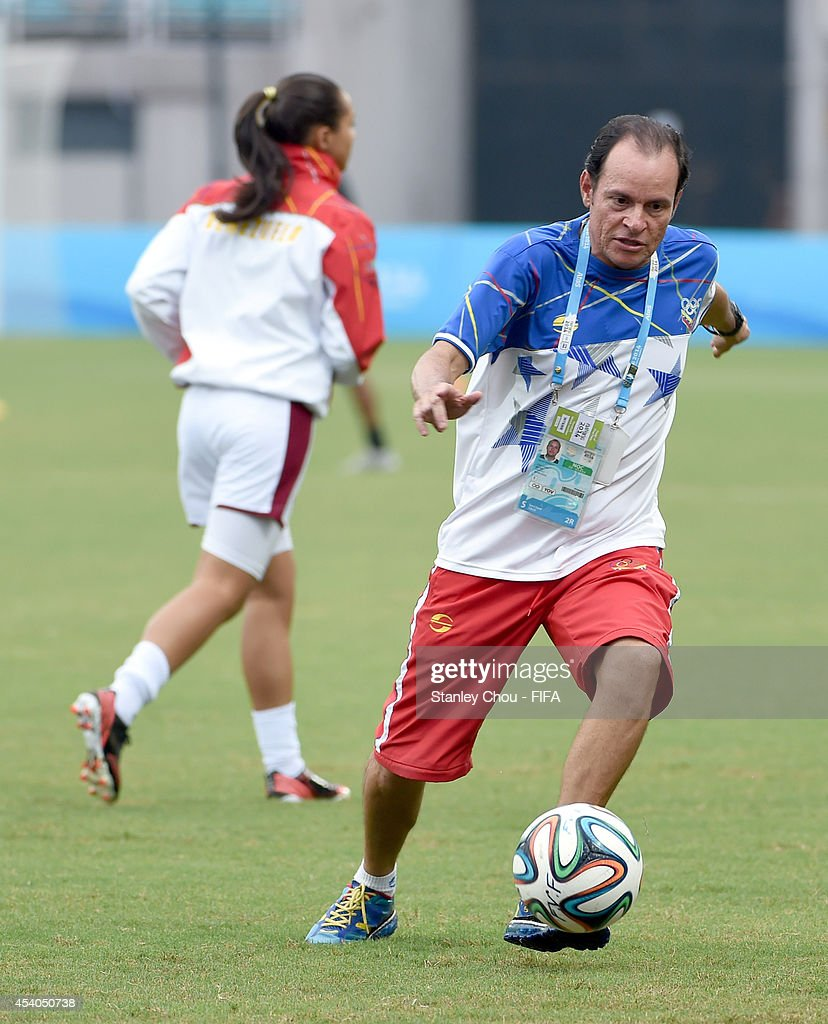 Venezuela Coach Kenneth Zseremeta in action during warm up prior to the start of the 2014 FIFA Girls Summer Youth Olympic Football Tournament Semi Final match between Venezuela and Mexico at Wutaishan Stadium on August 23, 2014 in Nanjing, China.