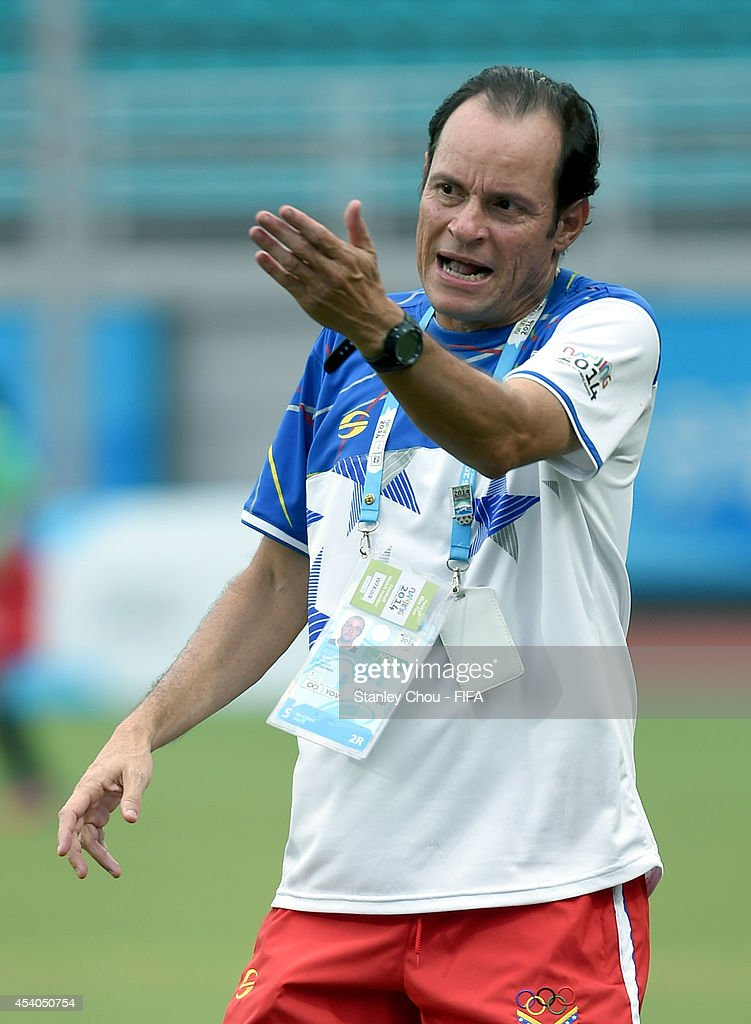 Venezuela Coach Kenneth Zseremeta reacts during warm up prior to the start of the 2014 FIFA Girls Summer Youth Olympic Football Tournament Semi Final match between Venezuela and Mexico at Wutaishan Stadium on August 23, 2014 in Nanjing, China.