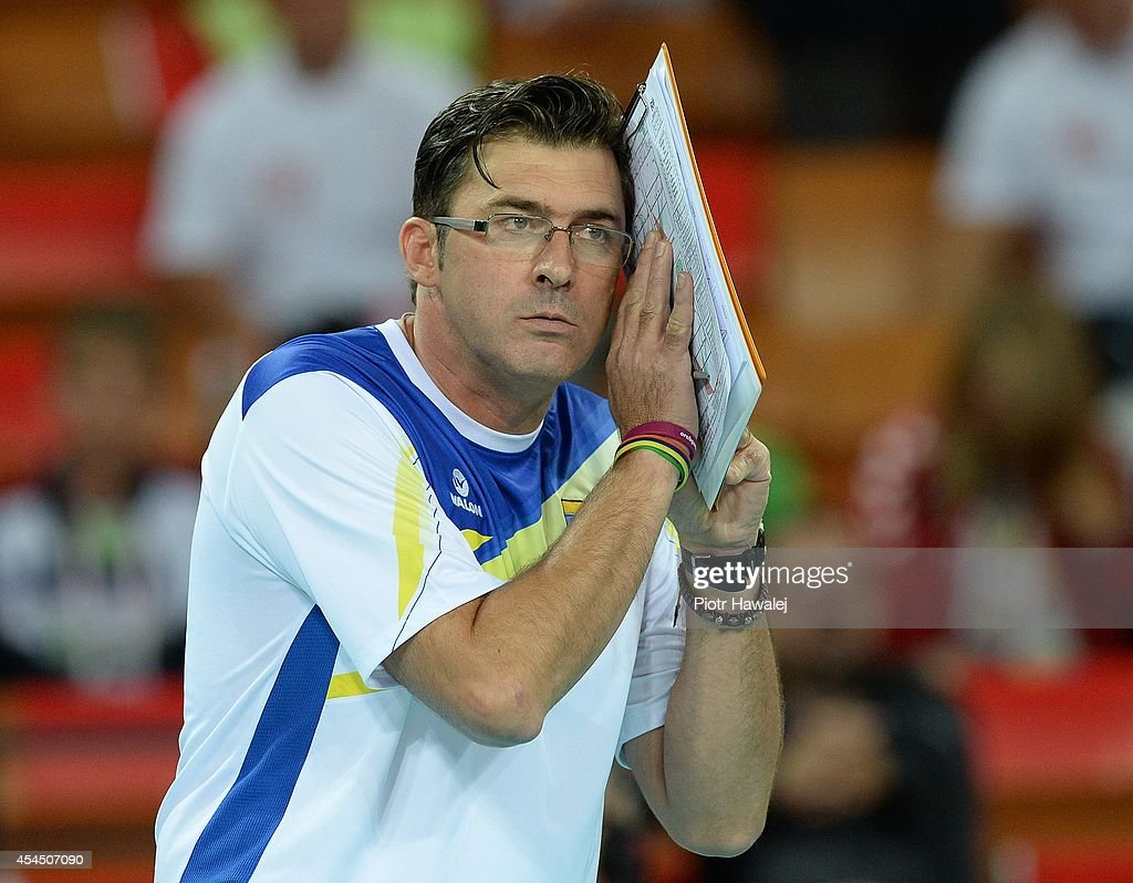 Venezuela coach Vincenzo Nacci reacts during the FIVB World Championships match between Venezuela and Cameroon on September 2, 2014 in Wroclaw, Poland.
