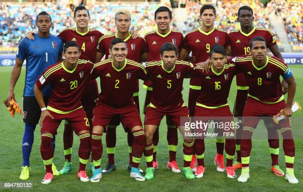 Venezuela line up prior to the FIFA U20 World Cup Korea Republic 2017 Final between Venezuela and England at Suwon World Cup Stadium on June 11 2017...