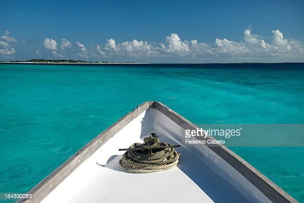 Venezuela, Los Roques, Los Roques National Park, Boat in the sea