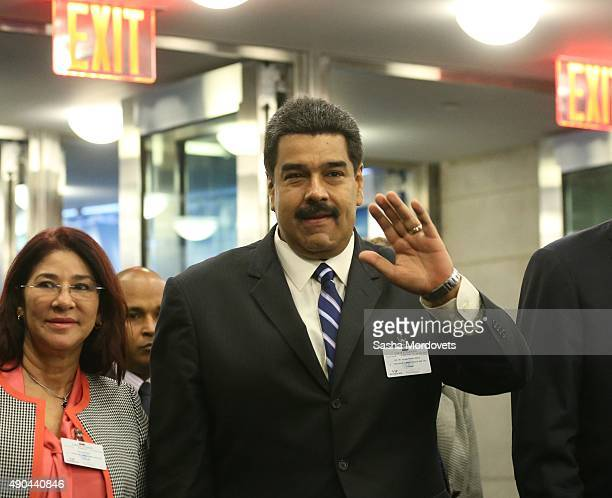 Venezuela President Nicolas Maduro arrives to the plenary session of the United Nations General Assembly at UN headquarters on September 28 2015 in...