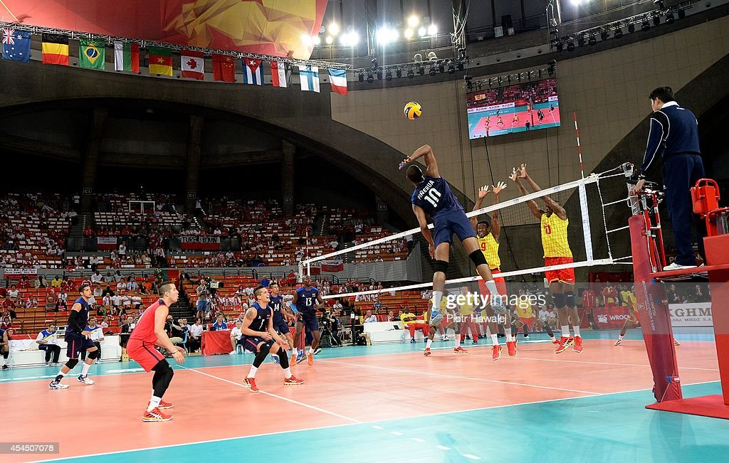 Venezuela team in action during the FIVB World Championships match between Venezuela and Cameroon on September 2, 2014 in Wroclaw, Poland.