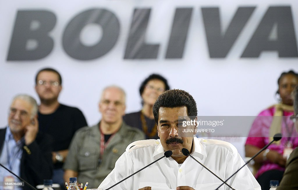 Venezuelan acting president Nicolas Maduro speaks during a meeting with intellectuals, in Caracas on March 25, 2013. Venezuela will elect its new president on April 14, 2013. AFP PHOTO/JUAN BARRETO