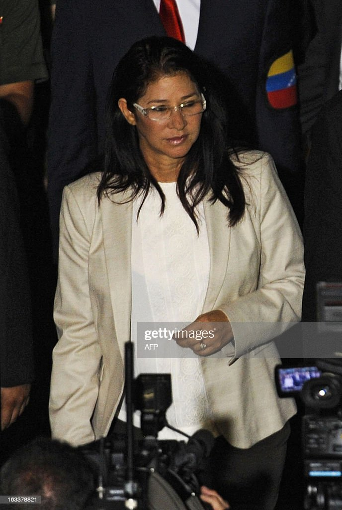 Venezuelan acting president Nicolas Maduro's wife, Cilia Flores, attends his swearing in ceremony on March 8, 2013, in Caracas. Hugo Chavez's handpicked successor, Nicolas Maduro, was sworn in as acting president of Venezuela late Friday in a disputed inauguration boycotted by the main opposition group.