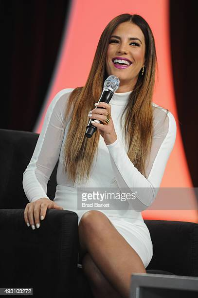 Venezuelan actress model and presenter Gaby Espino speaks on stage at Festival PEOPLE En Espanol 2015 presented by Verizon at Jacob Javitz Center on...
