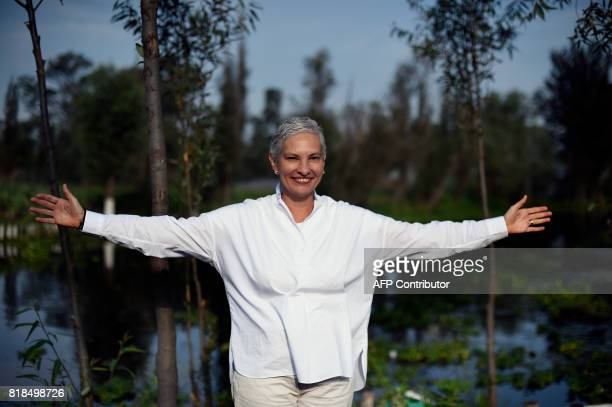Venezuelan chef Maria Fernanda Di Giacobbe poses for pictures during a symposium on biodiversity and gastronomy amid the floating gardens of...