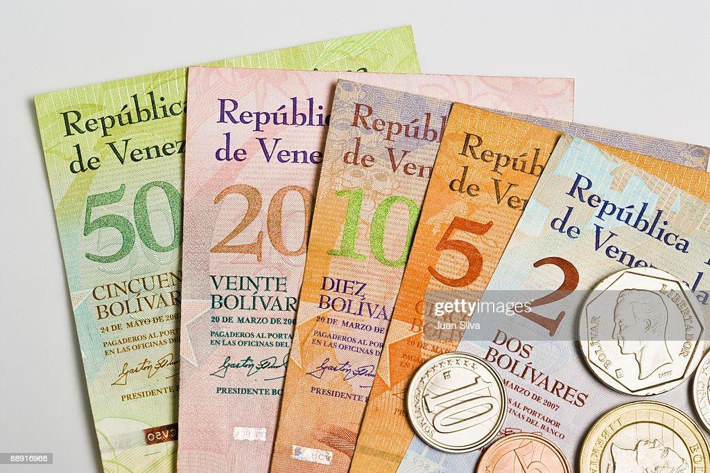 Venezuelan coins and notes ( Bolivar Fuerte ) : Stock Photo