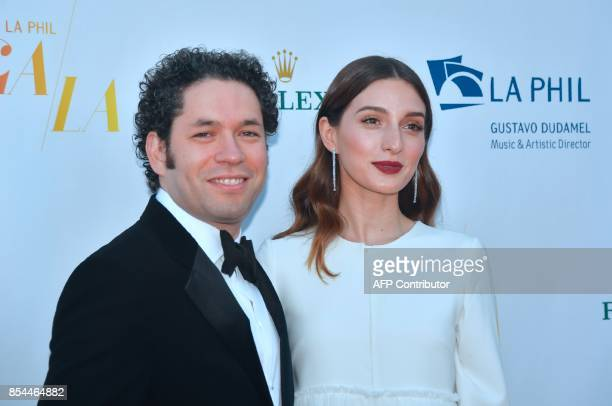 Venezuelan Conductor Gustavo Dudamel Music and Artistic Director of the Los Angeles Philharmonic and his wife Maria Valverde arrive for the 2017/18...