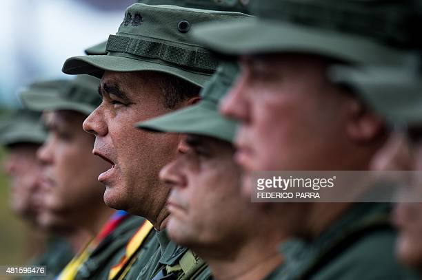 Venezuelan Defence Minister Padrino Lopez is pictured during a military parade in Tumeremo Bolivar State in Venezuela about 90 km from the border...