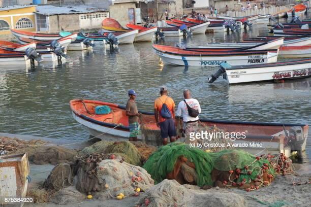 Venezuelan Fishermen Preparing Fishing Nets