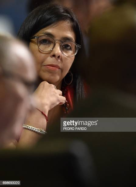 Venezuelan Foreign Minister Delcy Rodriguez attends the 47th General Assembly of the Organization of American States in Cancun Mexico on June 20 2017...