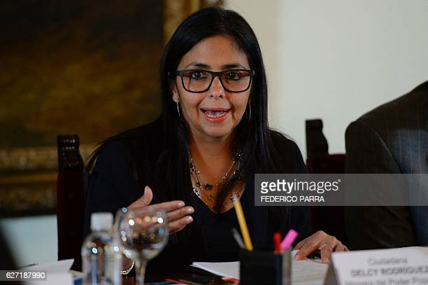 Venezuelan Foreign Minister Delcy Rodriguez holds a meeting with members of 'Commission for Truth and Justice' in Caracas on December 2 2016...