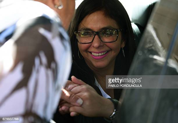 Venezuelan Foreign Minister Delcy Rodriguez leaves the Mercosur headquarters in Montevideo after giving a press conference on December 15 2016...