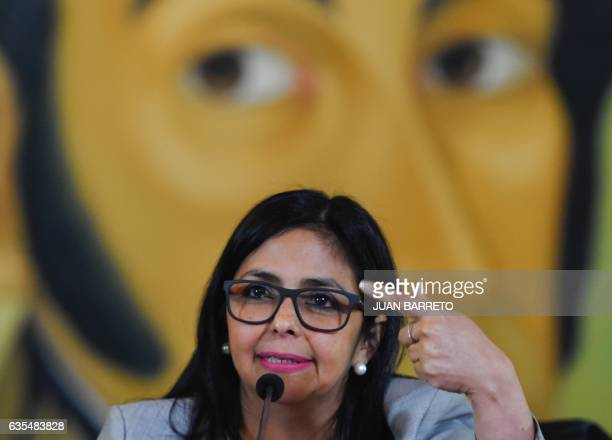 Venezuelan Foreign Minister Delcy Rodriguez offers a press conference in Caracas on February 15 2017 Venezuela lodged a diplomatic complaint with the...