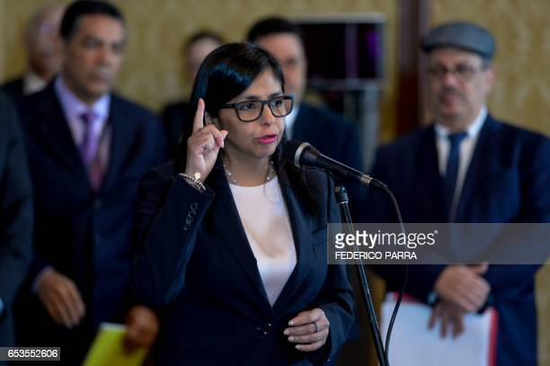 Venezuelan Foreign Minister Delcy Rodriguez offers a statement to the press in Caracas on March 15 2017 rejecting a proposal of the secretary general...