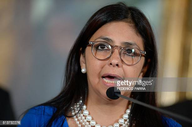 Venezuelan Foreign Minister Delcy Rodriguez speaks during a press conference in Caracas on March 4 2016 The aggression of the United States against...