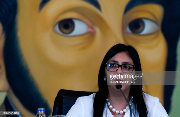 Venezuelan Foreign Minister Delcy Rodriguez speaks during a press conference in Caracas on March 29 2017 Rodriguez accused on Wednesday the...