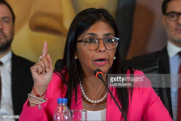 Venezuelan Foreign Minister Delcy Rodriguez speaks during a press conference in Caracas on June 1 2017 Rodriguez celebrated that an Organization of...